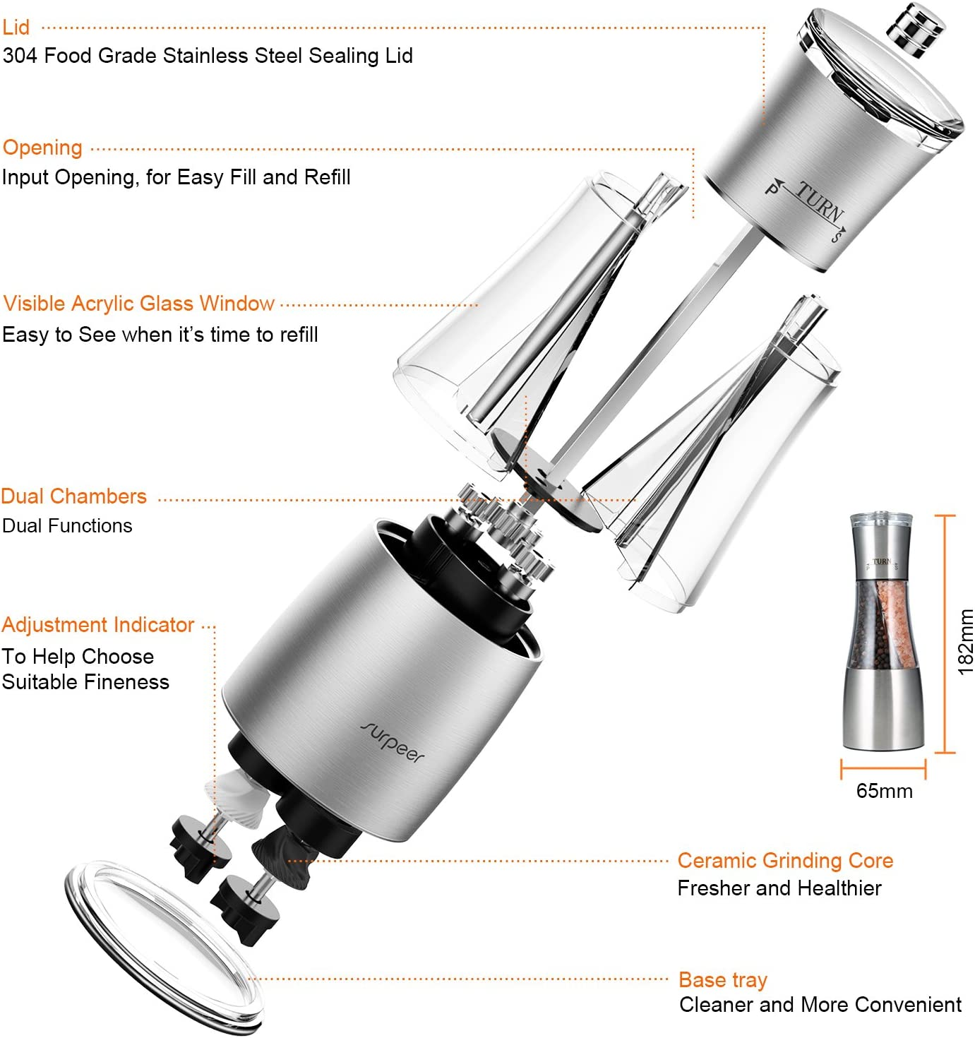 Pepper Grinder 2 in 1 Stainless Steel and Acrylic Glass SURPEER ...