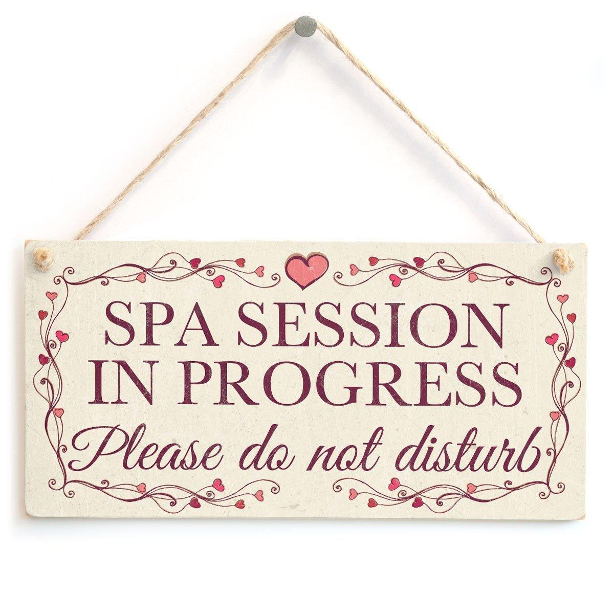 Meijiafei Spa Session In Progress Please do not disturb - Pretty Love Heart Frame Design Sign /Plaque 10''x5''