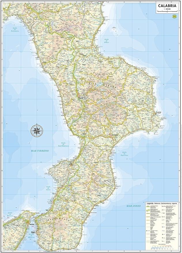 Cartina Geografica Calabria.Calabria Carta Regionale Murale 61x88 Cm In Piano Senza Aste Di Sostegno Belletti Amazon It Cancelleria E Prodotti Per Ufficio