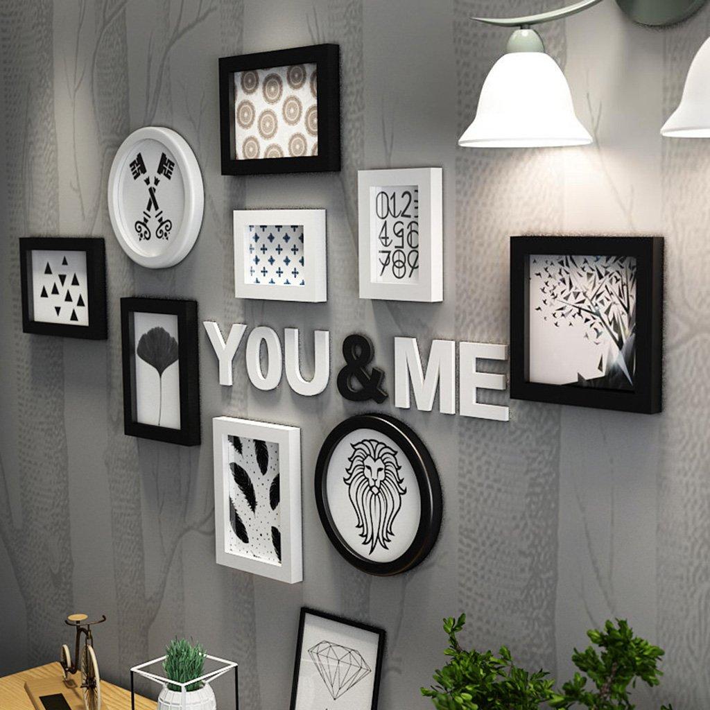Bilderrahmen Collage Wohnzimmer kreative Holz-Kunststoff-Panel Rahmen Kombination Wanddekoration ( Farbe   Schwarz und weiß )