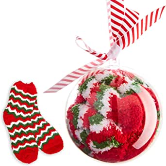 Super Soft Christmas Party Socks in Shatterproof Ball Ornament