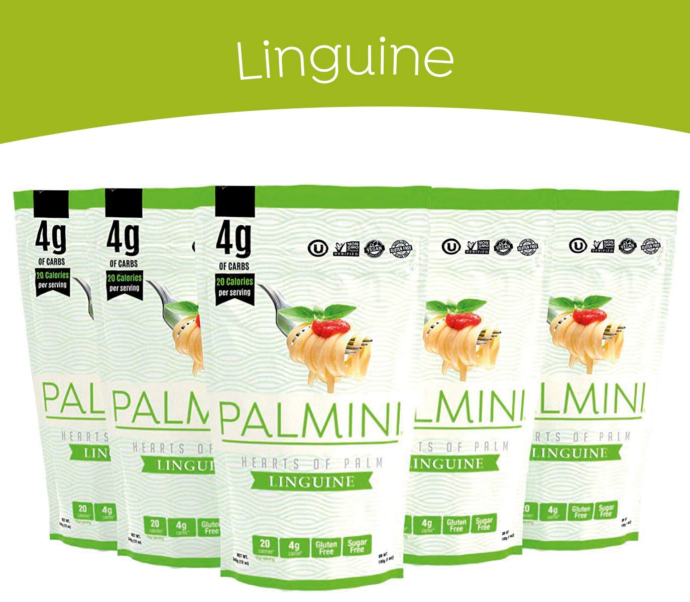 Palmini Low Carb Pasta   4g of Carbs   As Seen On Shark Tank   Gluten Free   12 Oz. Pouch (6 Unit Case)