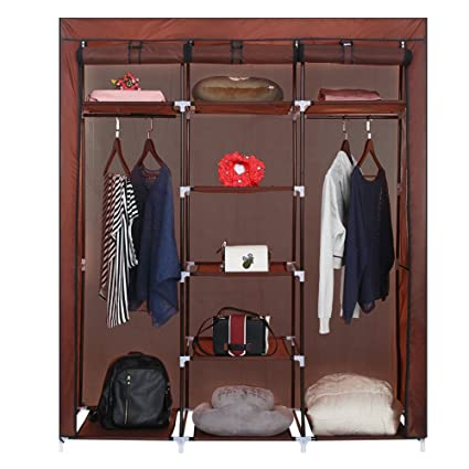 ROKOO Clothes Closet Wardrobe Portable DIY Modular Oxford Fabric Storage  Organizer With Double Hanging Rod Larger