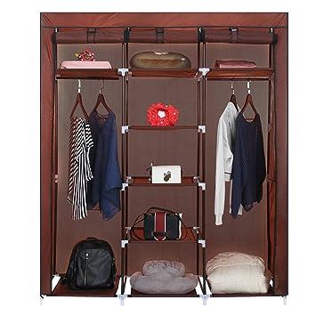 ROKOO Clothes Closet Wardrobe Portable DIY Modular Oxford Fabric Storage  Organizer With Double Hanging Rod Larger