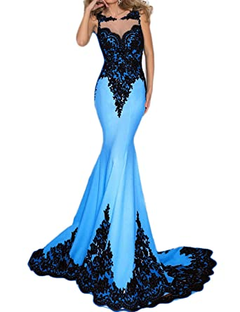 2193f2106db Miao Duo Women s Long Mermaid Floral Lace Evening Prom Dresses Maxi Formal  Evening Prom Dressess Blue