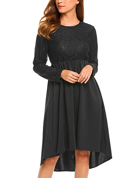 073823b5a4 Beyove Women s Vintage Floral Lace High Low Hem Cocktail Evening Party Dress  Black S
