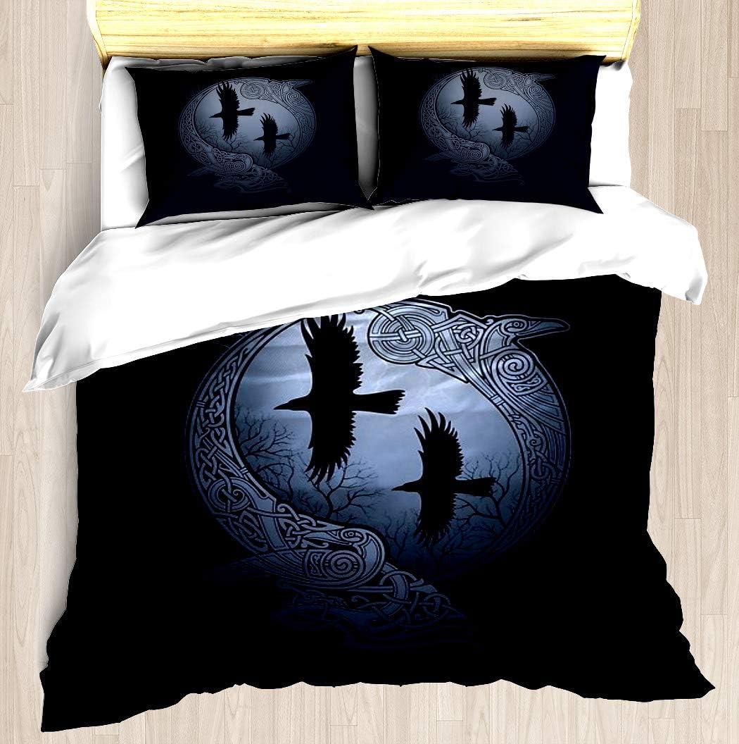 NTCBED Odin's Ravens - Duvet Cover Set Soft Comforter Cover Pillowcase Bed Set Unique Printed Design Duvet Covers Blanket Cover Queen/Full Size
