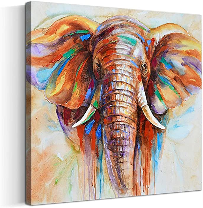 Artinme Original Design Large Contemporary Abstract Colourful Elephant Painting on Canvas Print Wall Art Picture for Living Room Bedroom Wall Decor (20 x 20 inch, Framed)