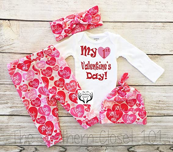 76fd4bd00 Amazon.com: Girls First Valentine's Day Outfit, My 1st Valentines ...