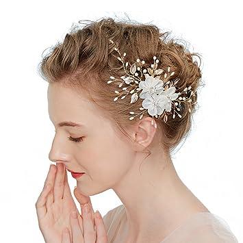 Amazon.com : Wcysin Bridal Flower Side Hair Clips Pearl Bridal ...