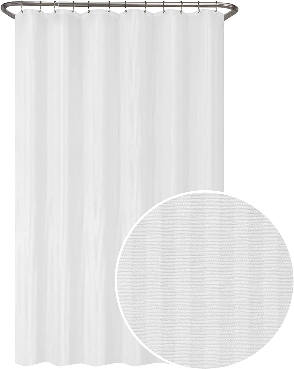 Zenna Home Striped Ultimate Waterproof Fabric Shower Curtain or Liner, 70 x 72 in, White