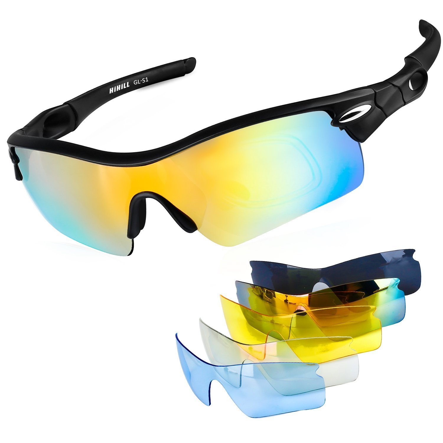 eb6678697c Polarized Sports Sunglasses Cycling Glasses for Women Men Baseball Running  Golf Fishing with 5 Interchangeable Lenses UV400 Protection TR90 Durable  Frame
