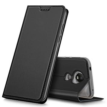 Funda Moto G6 play, iBetter Flip Cover Carcasa PU Silicio Protectora de Carcasa con Soporte Plegable para Moto G6 play,Negro
