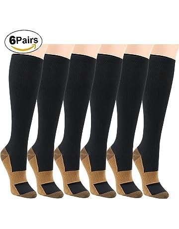 7d5e4206c9 Matchwill 6 Pares Rodilla Alta Calcetines Medias de Compresión para Hombres  y Mujeres - Ejercicio