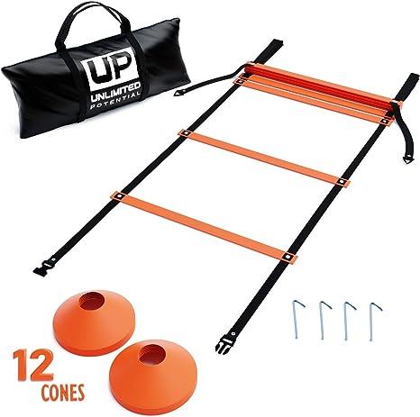 Unlimited Potential escaleras de fútbol – Escalera de velocidad – escalera de ejercicio – equipo de agilidad de entrenamiento y anclajes – bolsa de transporte – equipo de agilidad (amarillo, 15 pies) ...,
