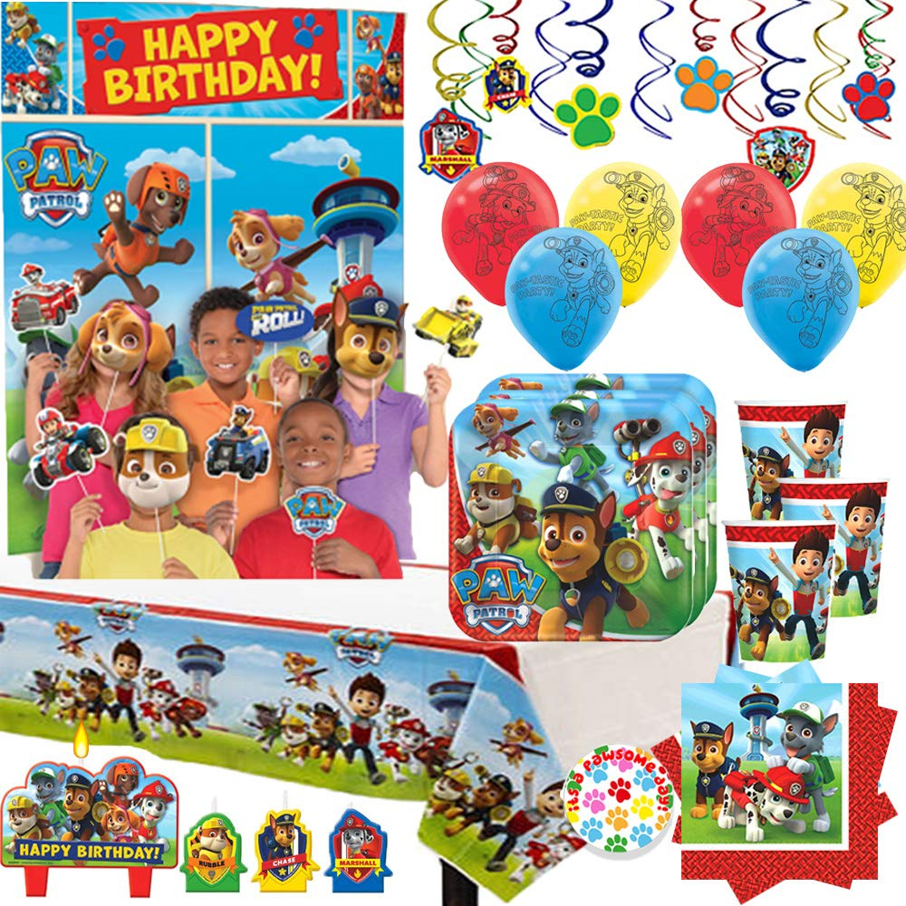 Paw Patrol Birthday Party Supplies For 16 Guests And Decorations With Plates, Cups, Napkins, Tablecover, Scene Setter with Photo Props, Balloons, Candles And Exclusive Paw Pin By Another Dream