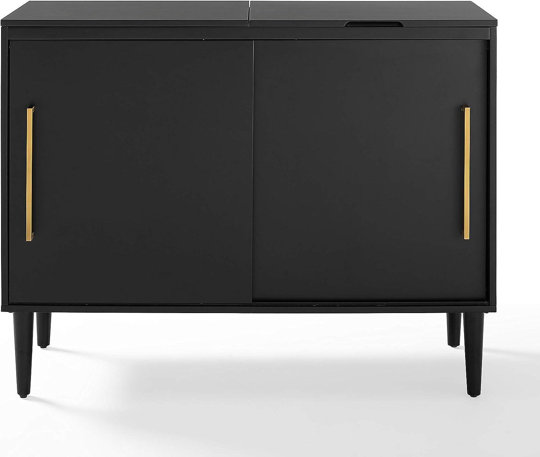 Crosley Furniture Everett Mid-Century Modern Media Console, Matte Black