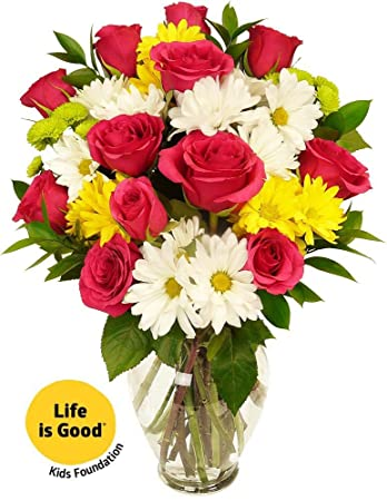 Amazon benchmark bouquets life is good flowers hot pink with benchmark bouquets life is good flowers hot pink with vase mightylinksfo