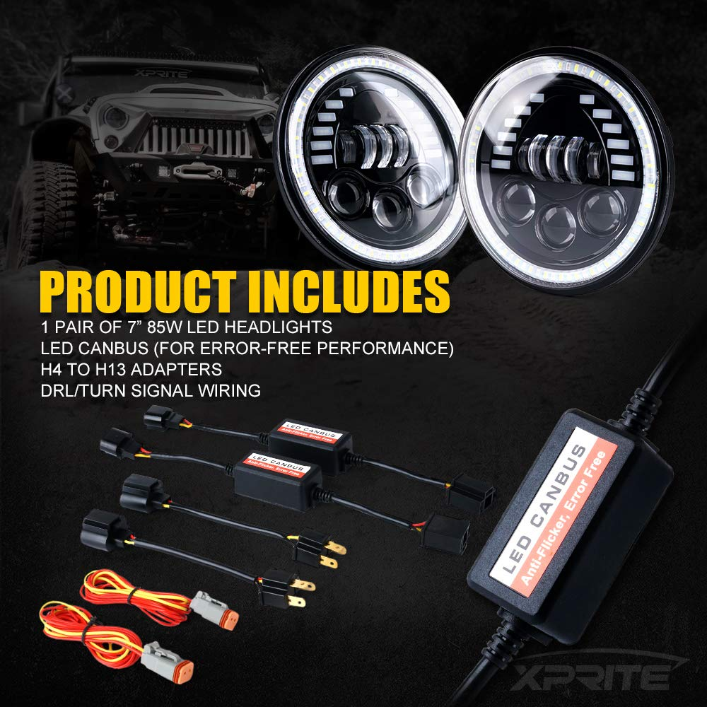 w//DRL DOT Approved Xprite 7 Inch 85W LED Headlights for Jeep Wrangler JK TJ LJ 1997-2018 Hi//Lo Beam,and Amber Turn Signal Halo Lights