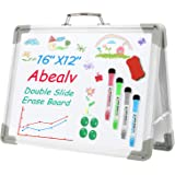 Abealv Small Dry Erase White Board 16 x 12 inches, Magnetic Desktop Portable Whiteboard Double Sided Foldable Whiteboards Eas
