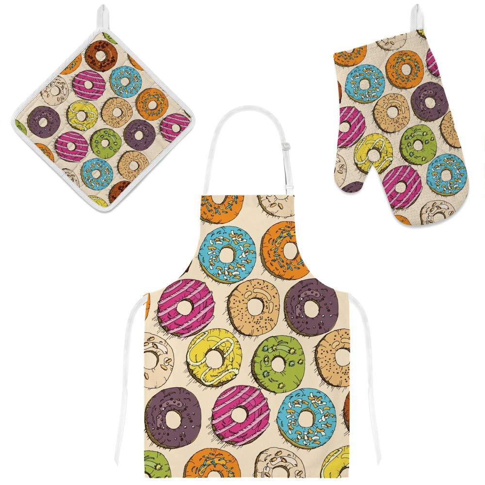 Top Carpenter Polyester Insulation Kitchen Oven Mitts Potholder Apron 3Pcs Set Vintage Donuts Pattern Non Slip Heat Resistant Gloves for Baking Cooking BBQ
