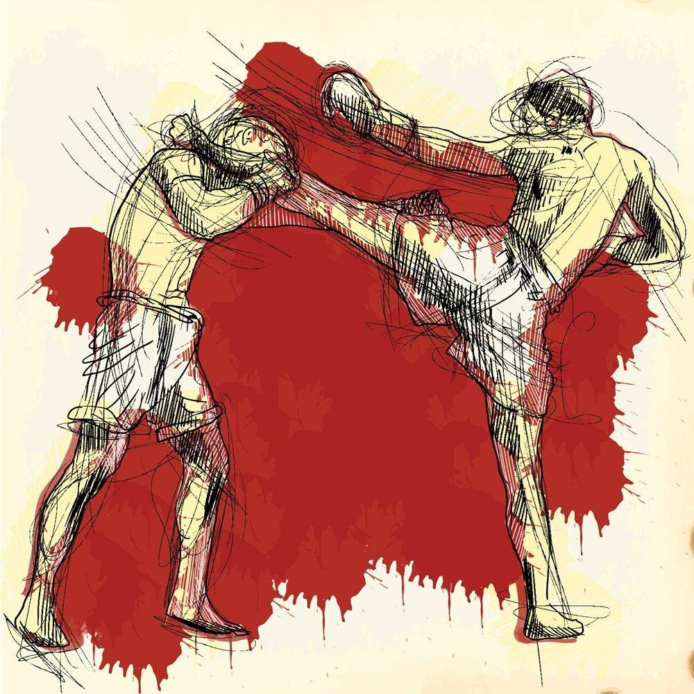 Pitaara Box PB Muay Thai Martial Art Kickboxing In Thailand Unframed Canvas Painting 20 x 20inch by Pitaara Box