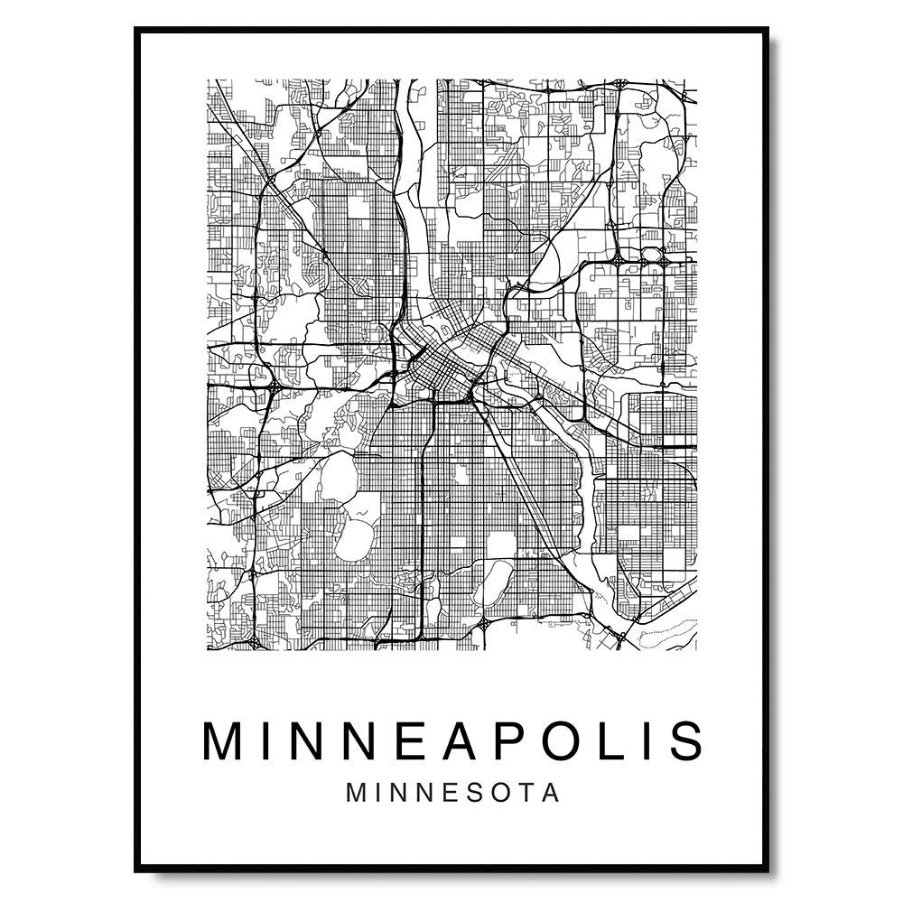 Minneapolis Wall Art Map Print Black and White Home Decor for Living Room