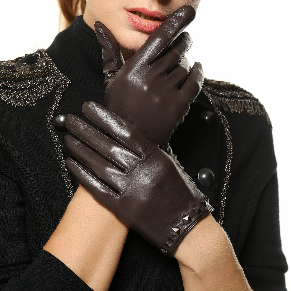 WARMEN Punk Rock Women Genuine Soft Leather Driving Performance Gloves With Rivet (L, Brown)