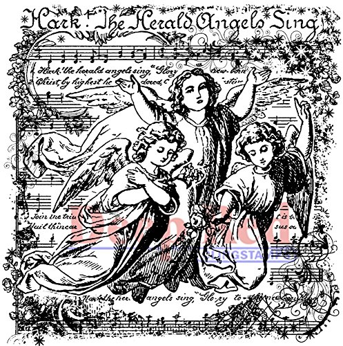 Deep Red Stamps Angels Sing Rubber Stamp