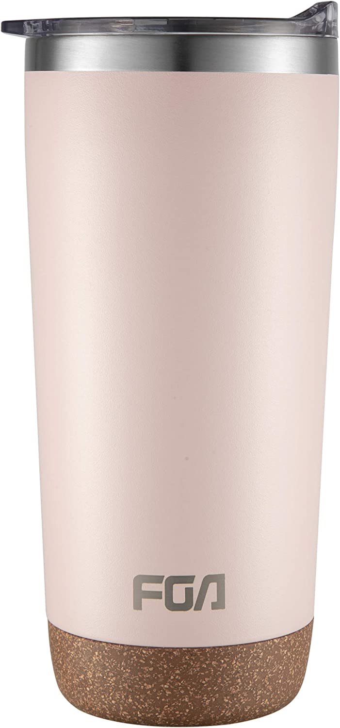 FGA Insulated Tumbler 20oz with Slide Clear Lid – Double Walled Vacuum, Wide Mouth Stainless Steel Thermal Coffee Travel Mug Cup for Man & Women, Home & Office, Ice Drinks & Hot Beverages - Pink