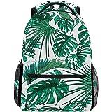YVONAU Tropical Flower Palm Leaves Kids Backpack School Bookbag Laptop Shoulder Backpack College Bag for Women Men Girls Travel Rucksack Hiking Daypack