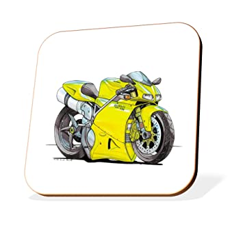 K1445 Cst Koolart Gifts Cartoon Ducati 998 Motorcycle Wooden Coaster