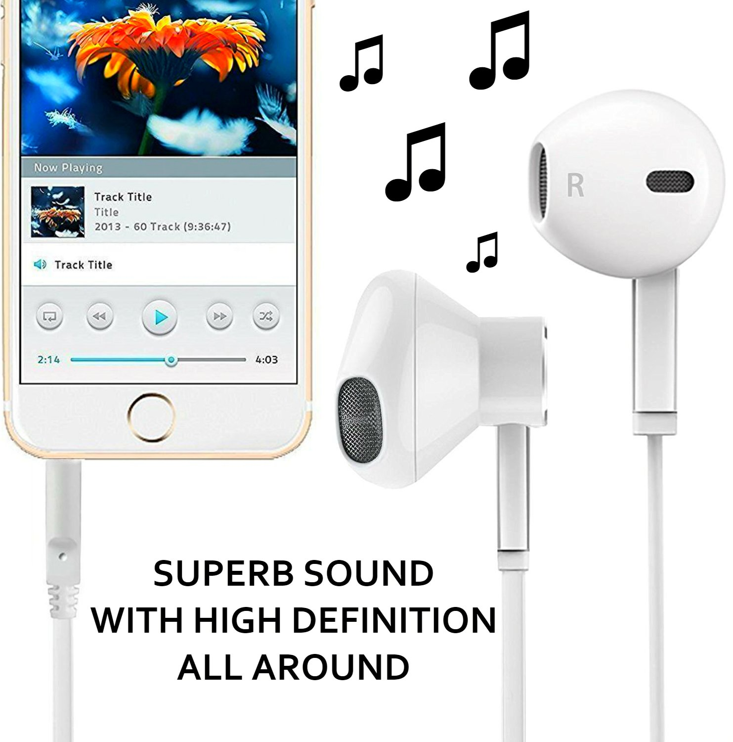Headphones with Microphone, Certified PowerBoost In-Ear 3.5mm Noise Cancelling Sport Stereo Earphones Headset for iPhone iPad iPod Laptop Tablet Android LG HTC Smartphones (White) 3 PACK by Power Boost (Image #2)