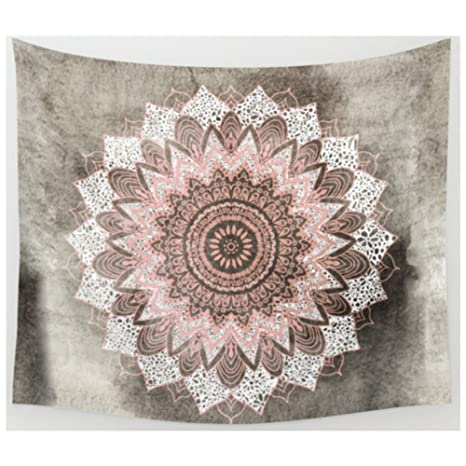 Grey /& Black Floral Ombre Medallion Tapestry Bedding Throw