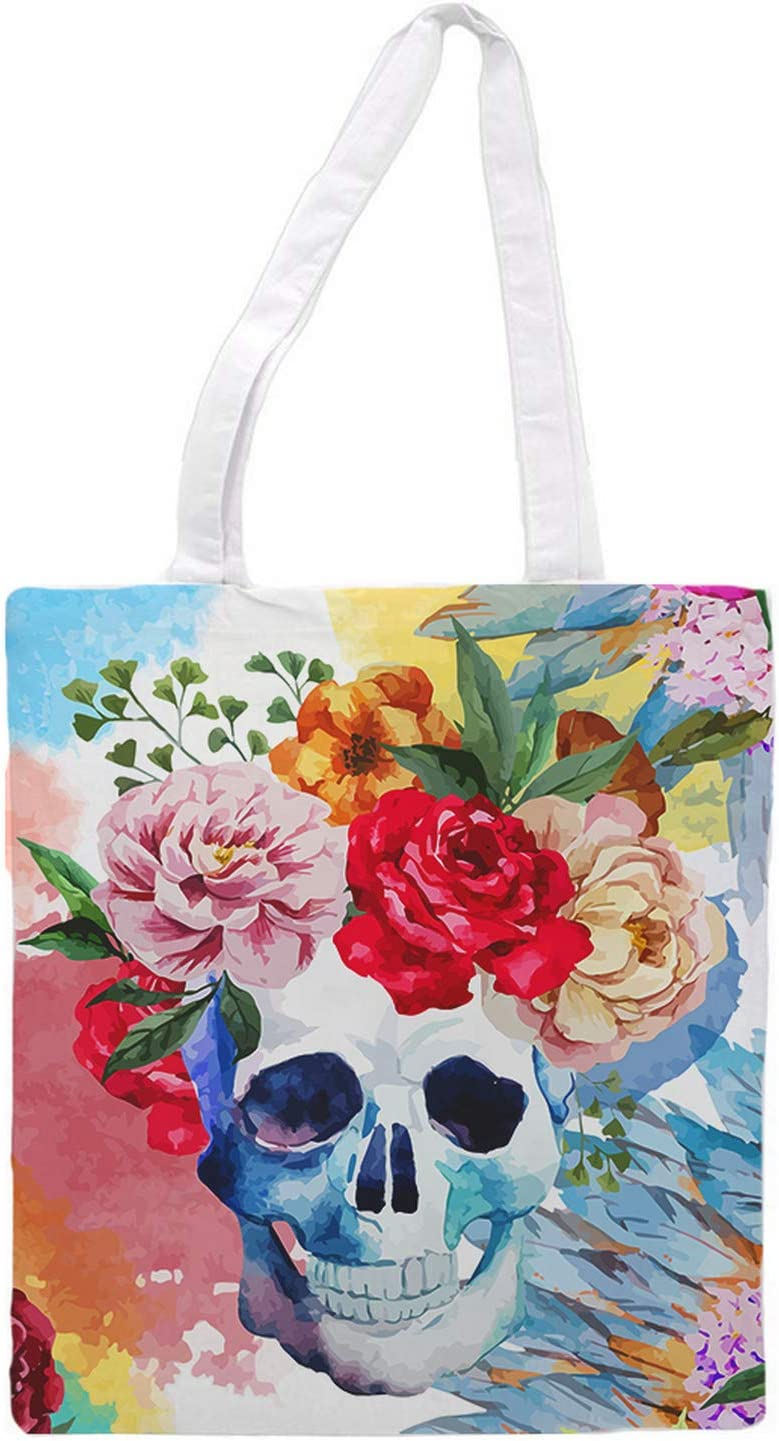 Womens Tote Bag - Stylish Modern Colored Skull Tote Travel Bag for Women - Reusable Grocery Shopping Hand Bag - 1.47 x 0.98 ft Washable