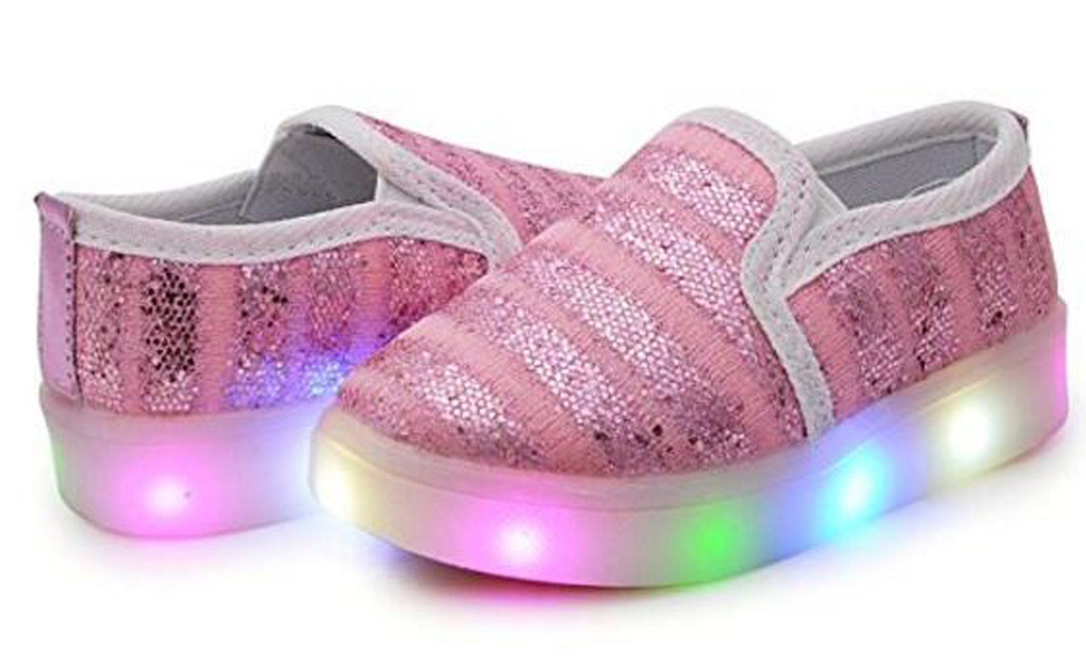 Toddler//Little Kid Pink US 8.5M Otamise Girls Light up Sequins Shoes Slip-on Flashing LED Casual Loafers Flat Sneakers