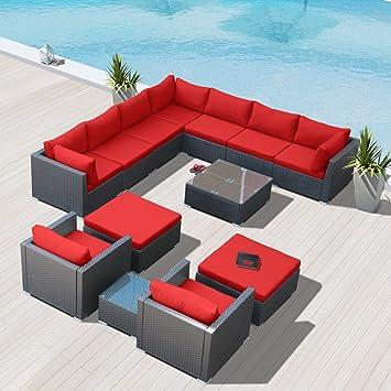 Modenzi G13 U Outdoor Sectional Patio Furniture Espresso Brown Wicker Sofa  Set (Red)