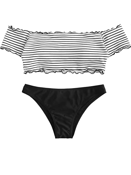 3b8b9ffa1844b SOLY HUX Women s Colorblock Lettuce Trim Striped Off-Shoulder Padded Bikini  Black S