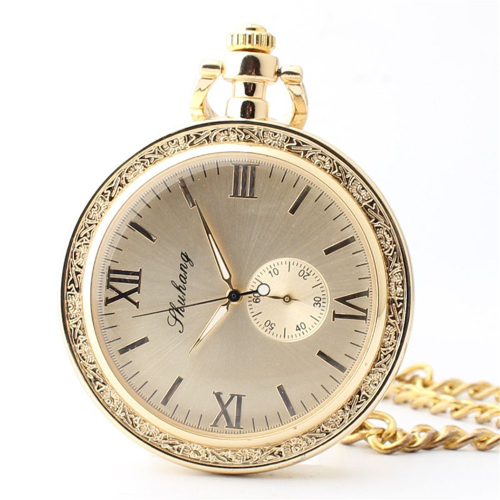 Zxcvlina Classic Smooth Exquisite Women's Uncovered Roman Numberals Pocket Watch Boutique Golden Retro Mechanical Pocket Watch with Chain Suitable for Gift Giving