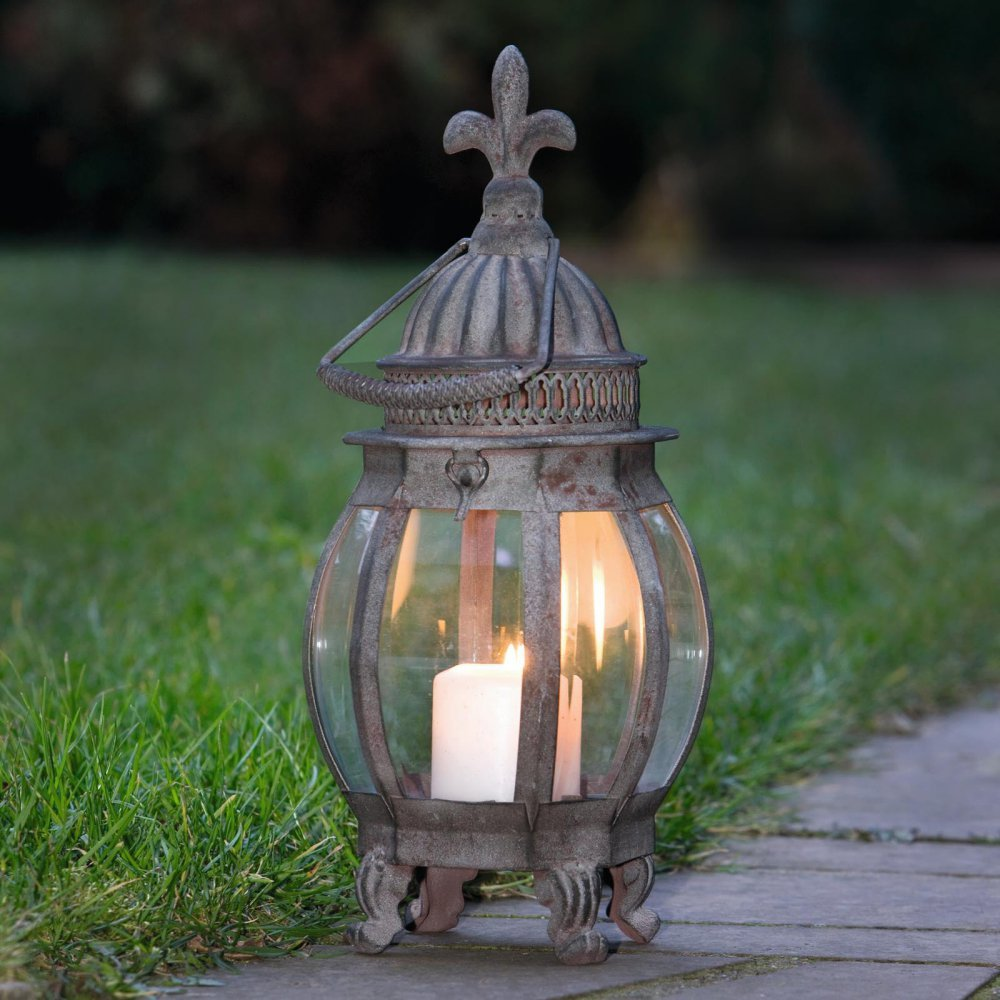Candle Lantern - Metal Hanging Candle Lantern, French Lily Product SKU: CL220866 Pier Surplus 816471018365