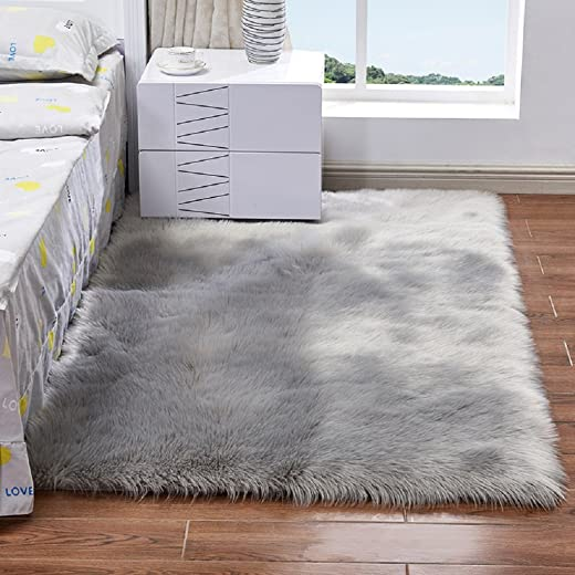 Elhouse Home Decor Square Rugs Faux Fur Sheepskin Area Rug Shaggy Carpet Fluffy Rug for Baby Bedroom,8ftx10ft,Grey