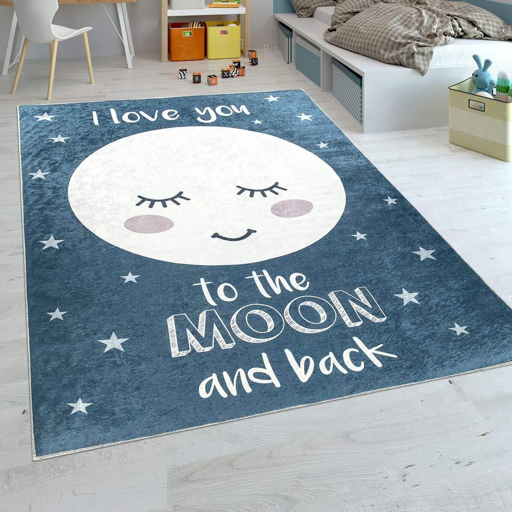 Paco Home Kinderteppich Kinderzimmer Mädchen Waschbar Sterne Niedlicher Mond Spruch Blau, Grösse:180x280 cm