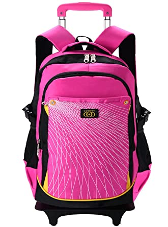 Coofit Rolling Backpack Cute Nylon School Bag Wheeled For Kids Large 6 Wheels