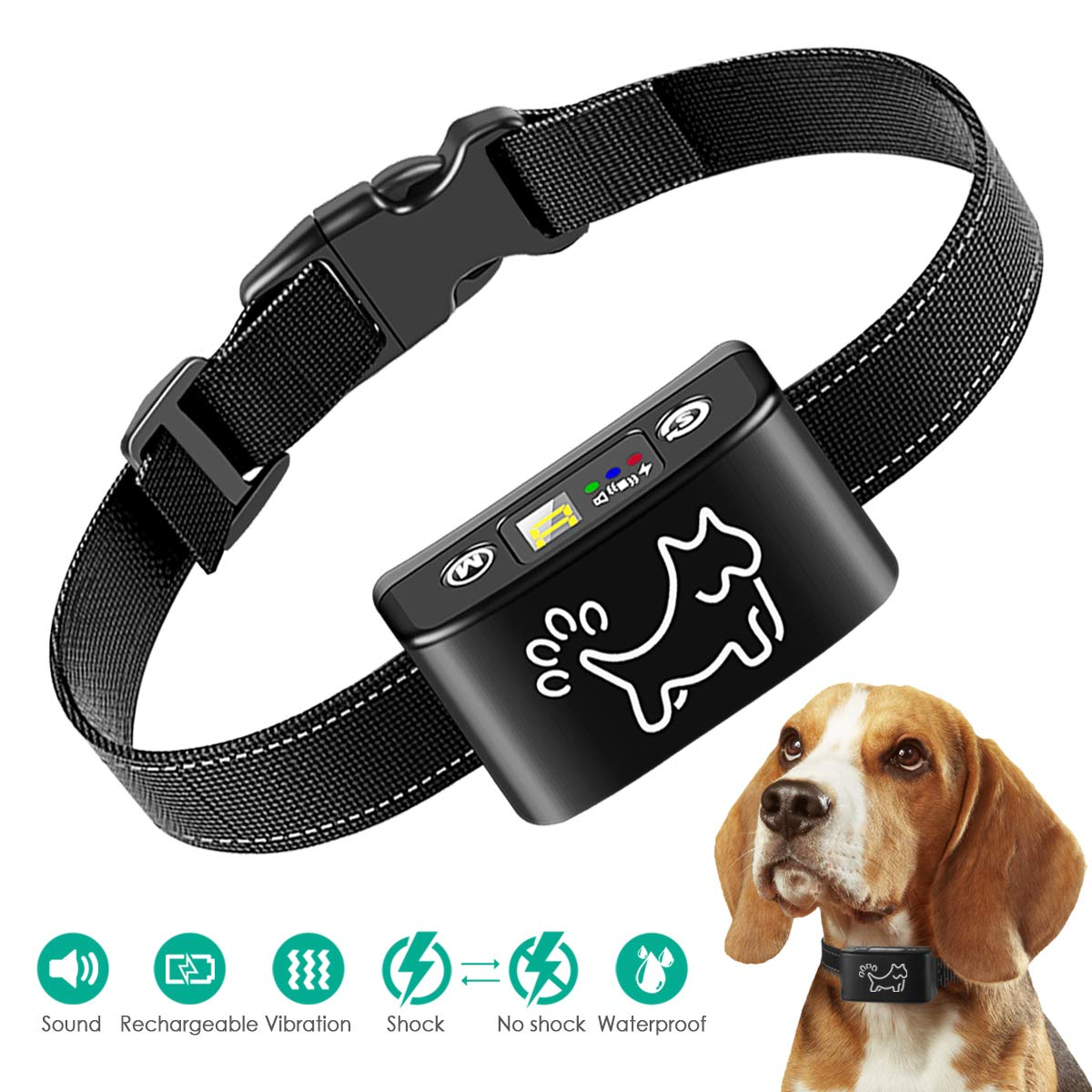 Anti Bark Collar for Small, Medium, Large Dogs - Dog Bark Shock Collar Device to Stop,Control Barking w/Humane Newest Automatic ULTRASONIC TECH for 5-120 lbs Breeds