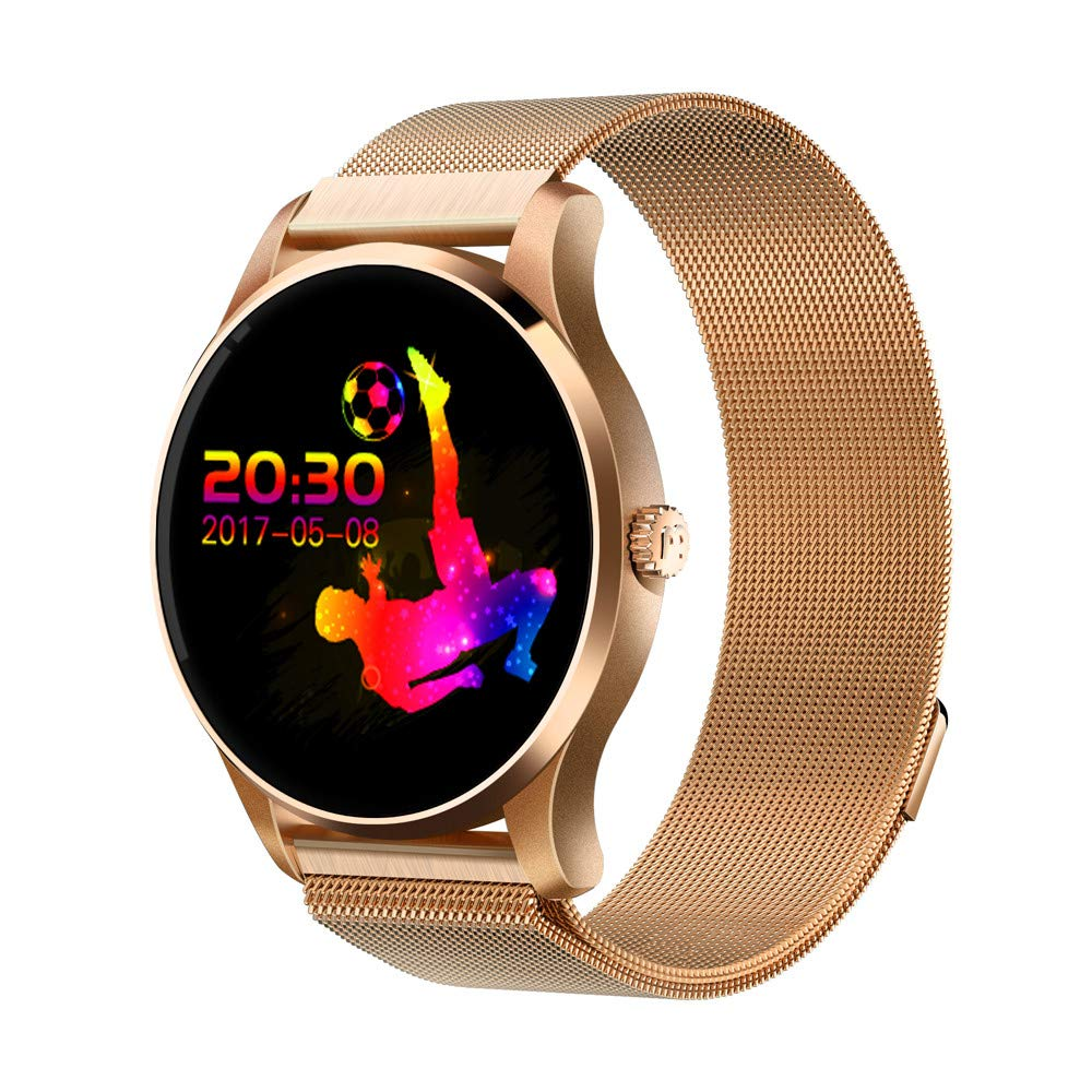 K88H Smart Watch, IP67 Waterproof MTK2502C with Stainless Steel Band 1.22 Inch IPS Screen Heart Rate Monitor Sport Pedometer Sleep Monitor Sedentary Reminder for Samsung Android & IOS (Gold)
