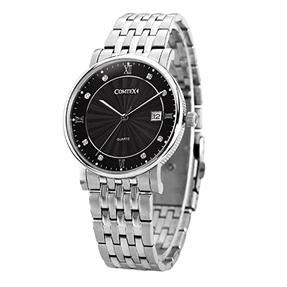 Comtex Hombre Reloj Analógico de Cuarzo con Negro Dial,Plata Acero inoxidable Correa,visualización de la Fecha: Amazon.es: Relojes