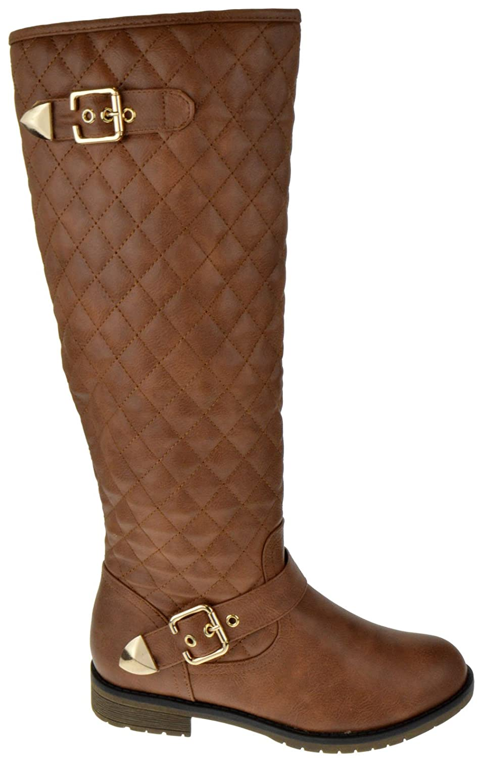 3c98d6d57bf1 Amazon.com | TOP Moda Dish 2 Leather Knee High Quilted Buckle Up Boots Tan  | Knee-High
