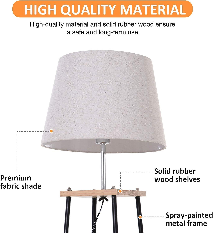 HOMCOM Floor Lamp w// 3-Tier Shelves Foot Switch Modern Stylish Metal Tripod E27 Lampshade Base Functional Duo Design