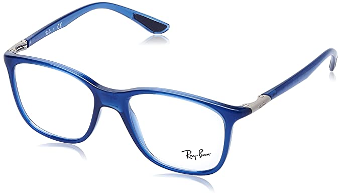 29622b20f424e Image Unavailable. Image not available for. Color  Ray-Ban Unisex RX7143  Eyeglasses Trasparent Blue 51mm