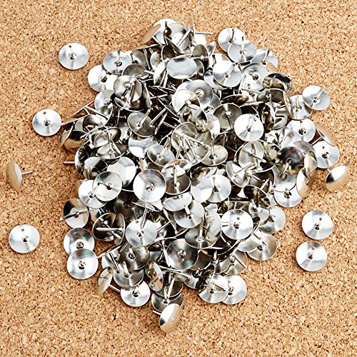 Steel Thumb Tack, Thumb Tacks Push Pins Silver Round Head Pins Office Thumbtack, Push Pin for Home, School, Sharp Steel Points 3/8 Inch Head, Silver, Box of 300 Photo #7